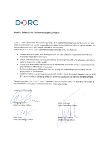 D.O.R.C. Health, Safety and Environment (HSE) Policy