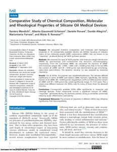 Comparative Study of Chemical Composition, Molecular and Rheological Properties of Silicone Oil Medical Devices