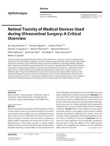 Retinal Toxicity of Medical Devices Used during Vitreoretinal Surgery