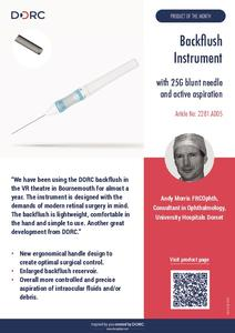 Backflush Instrument with 25G blunt needle and active aspiration (Mr. Andy Morris, UK)
